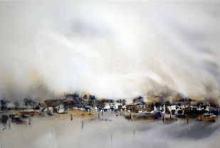 Sleepy Village by Nisha Sehjpal, Expressionism Painting, Watercolor on Paper, Gray color