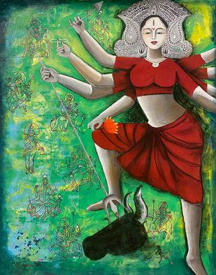 Goddess Durga- the powerful Digital Print by Kangana Vohra ,Expressionism