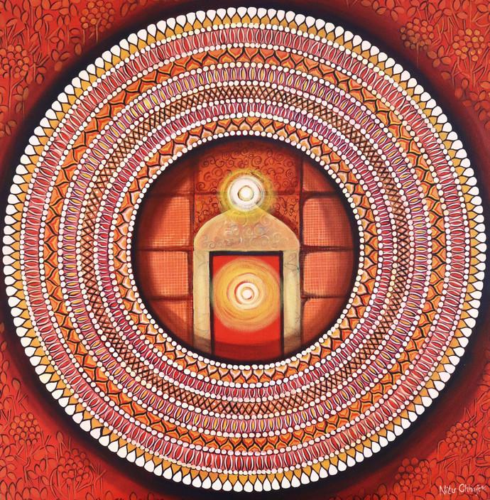 Mandala - Awakening Light Inside by NITU CHHAJER, Decorative Painting, Acrylic on Canvas, Brown color