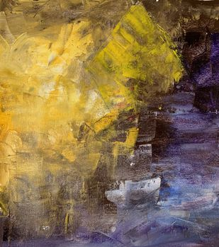 Abstract - Ganga Ghat by Amit Pithadia, Abstract Painting, Acrylic on Canvas, Brown color