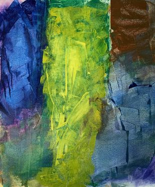 Abstract- Shree Ganesh by Amit Pithadia, Abstract Painting, Acrylic on Canvas, Green color
