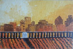 City Lights by Aastha Bairollia, Expressionism Painting, Acrylic on Canvas, Brown color