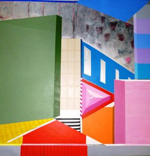 Gravity of Pink by Ritu Aggarwal, Geometrical Painting, Acrylic on Canvas, Green color