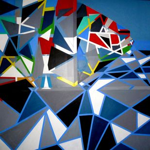 Oblivion by Ritu Aggarwal, Geometrical Painting, Acrylic on Canvas, Blue color
