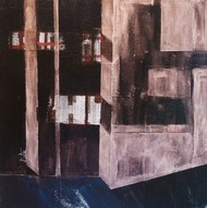 Subway II by Ritu Aggarwal, Geometrical Painting, Acrylic & Graphite on Canvas, Brown color