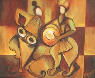 ECSTASY by KAMINI MINOCHA, Expressionism Painting, Oil & Acrylic on Canvas, Brown color