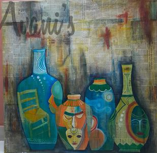 Nostalgia by Avani, Expressionism Painting, Mixed Media on Canvas, Green color
