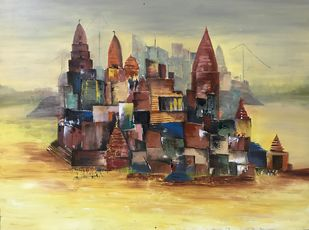 Banaras by sapna anand, Expressionism Painting, Acrylic on Canvas, Beige color