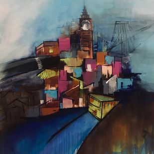 City of Joy by sapna anand, Expressionism Painting, Acrylic & Ink on Canvas, Brown color