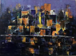 City of Lights by sapna anand, Expressionism Painting, Acrylic on Canvas, Blue color