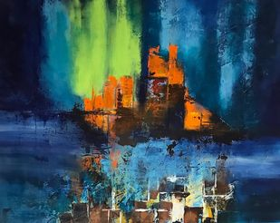 Aurora by sapna anand, Expressionism Painting, Acrylic on Canvas, Blue color