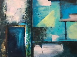 The doors by sapna anand, Expressionism Painting, Acrylic on Canvas, Green color
