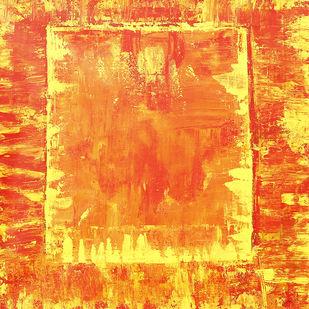 Jai Hanuman by Karan Meral, Abstract Painting, Acrylic on Canvas, Orange color