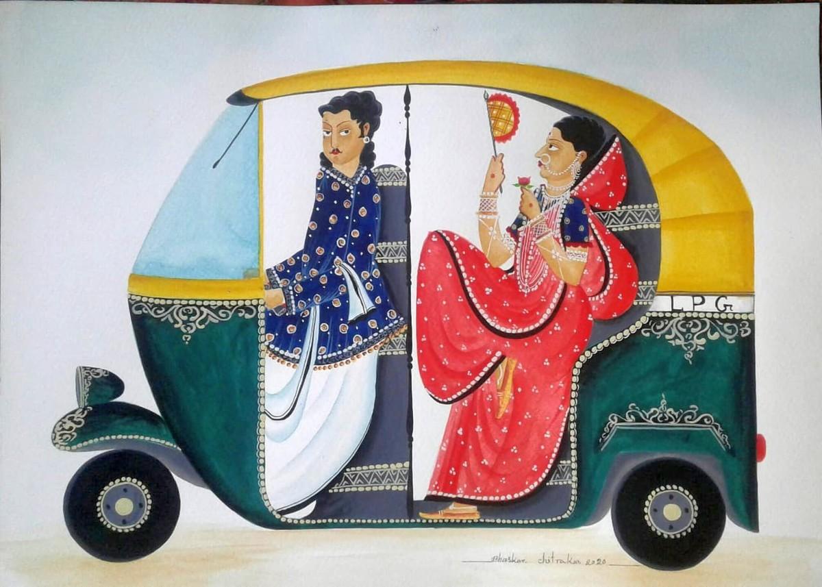 Babu-Bibi in an auto by Bhaskar Chitrakar, Folk Painting, Natural colours on paper, Pink color
