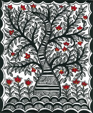 Madhubani - Tree of Life Digital Print by Jyoti Mallick,Folk