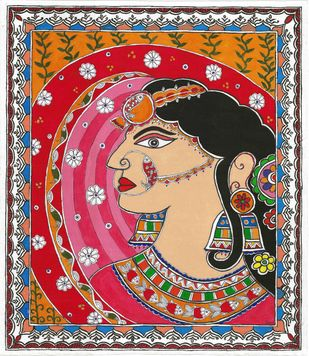 Madhubani - Bride in ghunghat Digital Print by Jyoti Mallick,Folk