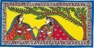 Madhubani - Radha in Vrindavan Digital Print by Jyoti Mallick,Folk