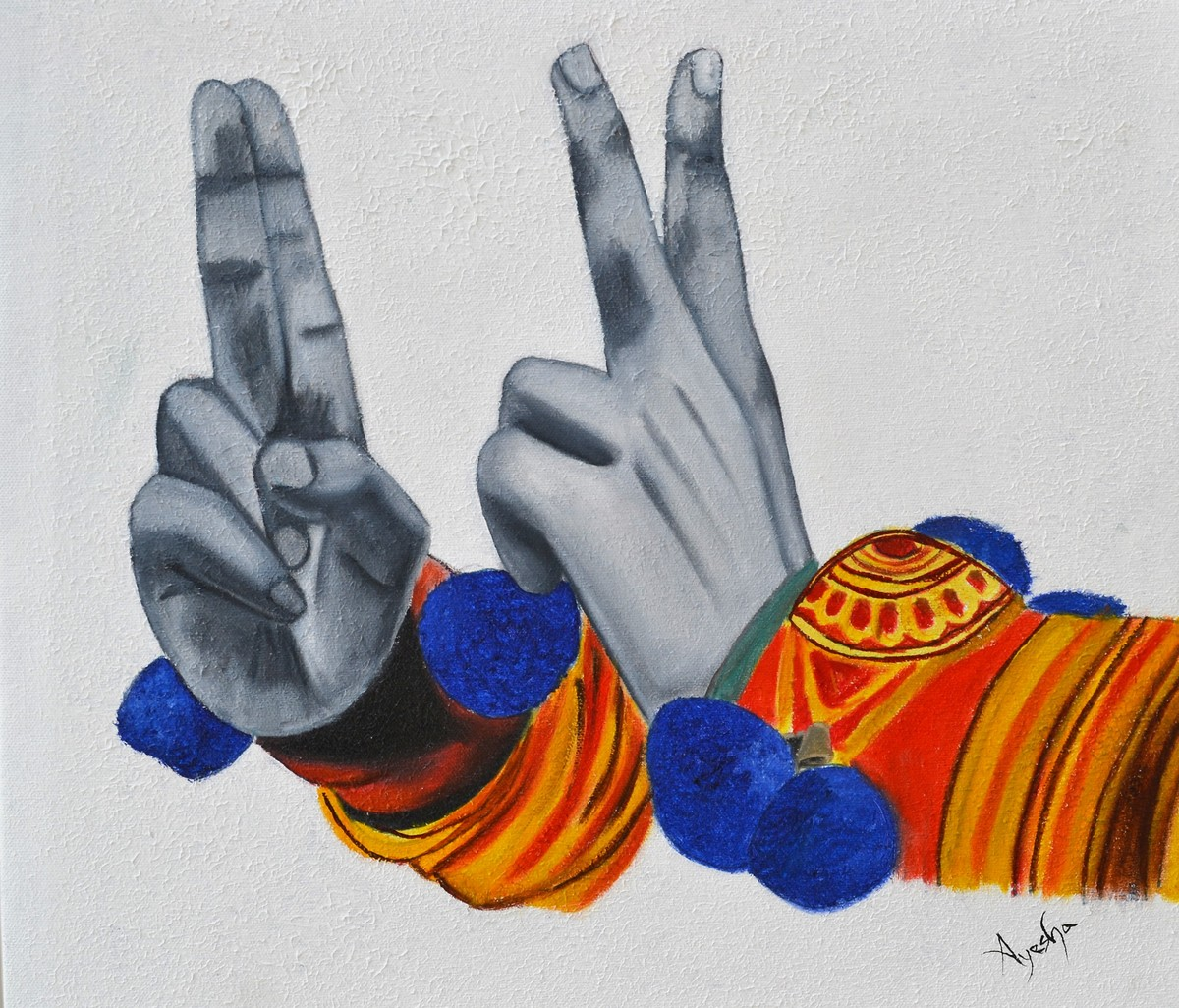Kathakali Hasta Mudra Digital Print by Ayesha Jilkar,Illustration