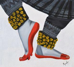 Kuchipudi Pada Bhedas by Ayesha Jilkar, Expressionism Painting, Oil & Acrylic on Canvas, Gray color