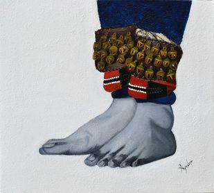 Kathakali Pada Bhedas by Ayesha Jilkar, Expressionism Painting, Oil & Acrylic on Canvas, Gray color