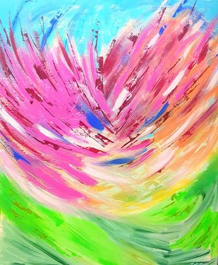 BLOOMING JOY by Trpti Malhotra, Abstract Painting, Acrylic on Canvas, Pink color