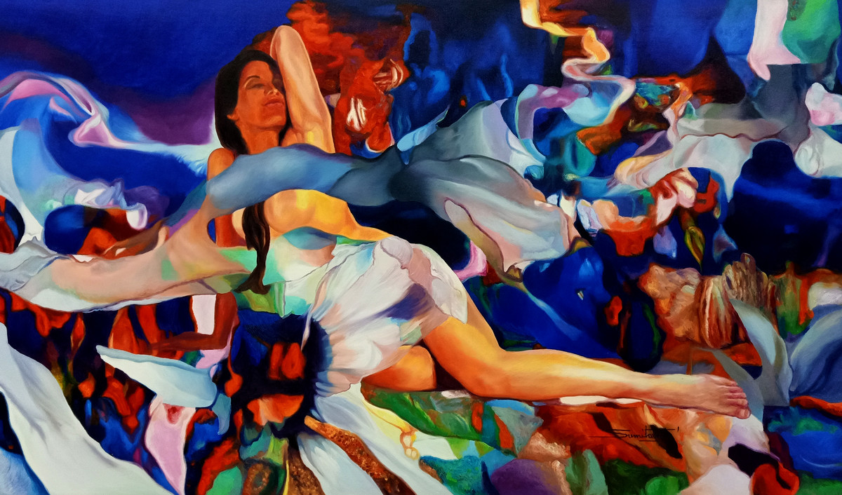 Colour of the Universe XX by Sumitava Maity, Fantasy Painting, Oil on Canvas, Blue color