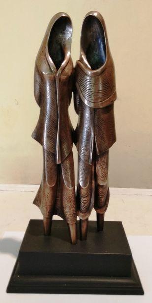Couple by N.S. Rana, Art Deco Sculpture | 3D, Bronze, Beige color