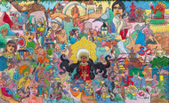 I AM ARYAVARTH by Vijaylaxmi D Mer, Expressionism Painting, Mixed Media on Canvas, Brown color
