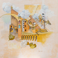 Flight of Fantasy 01 by Vijaylaxmi D Mer, Expressionism Painting, Mixed Media on Canvas, Beige color