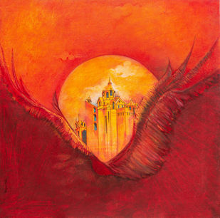 Flight of Fantasy 02 by Vijaylaxmi D Mer, Expressionism Painting, Mixed Media on Canvas, Red color