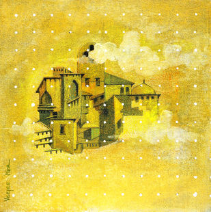 Flight of Fantasy 04 by Vijaylaxmi D Mer, Expressionism Painting, Mixed Media on Canvas, Yellow color