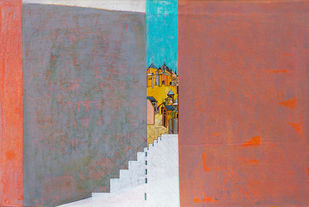 Flight of Fantasy 05 by Vijaylaxmi D Mer, Expressionism Painting, Mixed Media on Canvas, Brown color