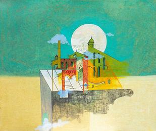 Flight of Fantasy 08 by Vijaylaxmi D Mer, Expressionism Painting, Mixed Media on Canvas, Green color