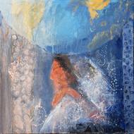 Thinker by Rupatan Naskar, Abstract Painting, Acrylic on Canvas, Blue color