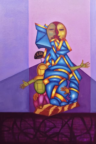 Aatm-Nivednam by riddhima sharraf, Expressionism Painting, Oil & Acrylic on Canvas, Blue color