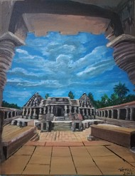 Chennakeshava Temple by Venugopal Sunkad, Realism Painting, Acrylic on Canvas, Brown color