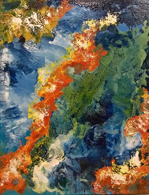 Abstract sunrise by Gita Jain, Abstract Painting, Mixed Media on Canvas, Green color
