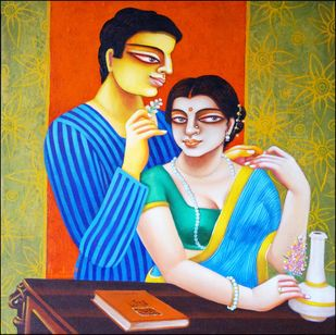 Couple5 by Gautam Mukherjee, Expressionism Painting, Acrylic on Canvas, Brown color