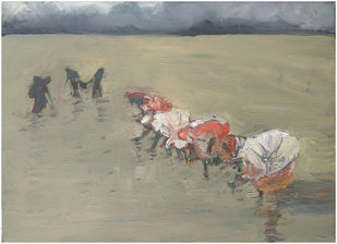 Women Planting Rice Paddies, India (2) by Animesh Roy, Expressionism Painting, Oil on Linen, Beige color