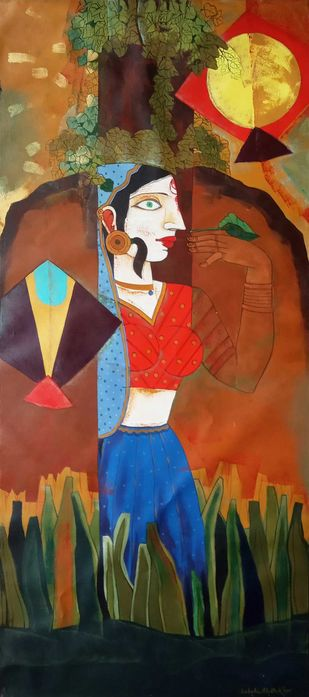 Playing by Ashoke Mullick, Expressionism Painting, Acrylic on Canvas, Brown color