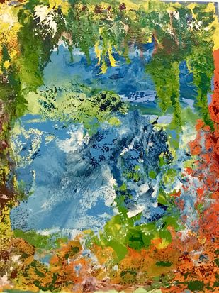 Nature by Gita Jain, Abstract Painting, Mixed Media on Canvas, Green color