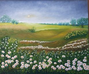 WHITE FIELDS by VINOD PRAKASH , Expressionism Painting, Oil on Canvas, Green color
