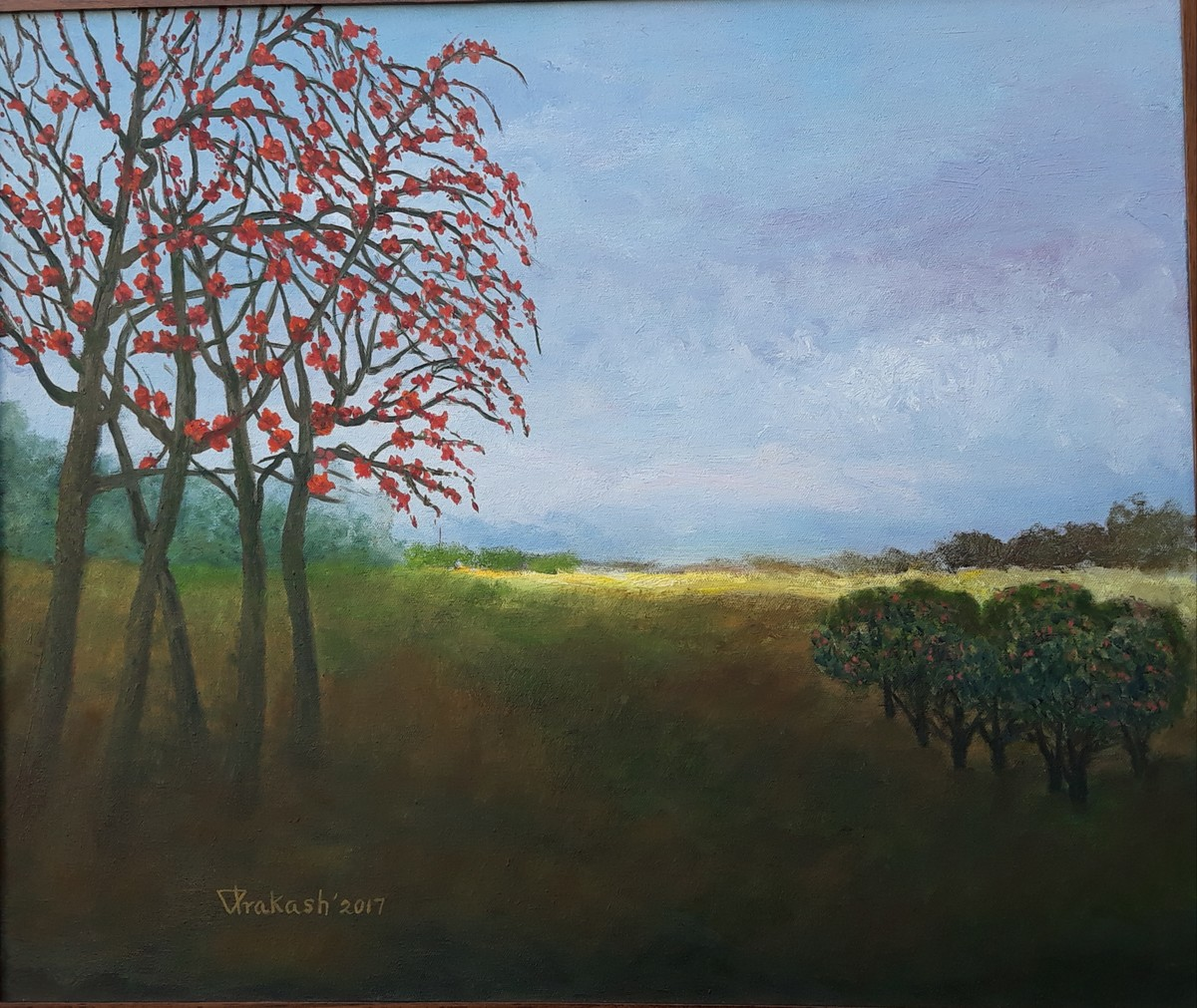 FLOWERING TREES by VINOD PRAKASH , Expressionism Painting, Oil on Canvas, Cyan color