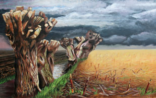 Desolation by Carl Verhulst, Expressionism Painting, Acrylic on Canvas, Brown color