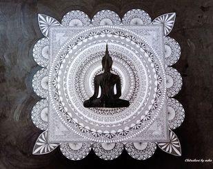 Buddha Mandala Art by Neha Verma, Decorative Drawing, Acrylic & Ink on Paper, Gray color