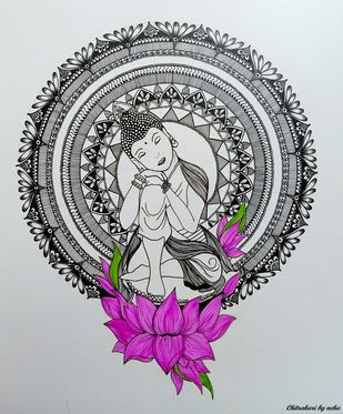Buddha Lotus Mandala by Neha Verma, Decorative Drawing, Acrylic & Ink on Paper, Gray color