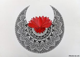 Lotus Mandala by Neha Verma, Decorative Drawing, Acrylic & Ink on Paper, Gray color