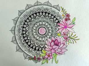 Floral Mandala by Neha Verma, Decorative Drawing, Watercolor & Ink on Paper, Gray color
