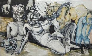 Mindscape of an Artist 1 by Tapan Chattopadhyay, Expressionism Painting, Acrylic on Canvas, Gray color