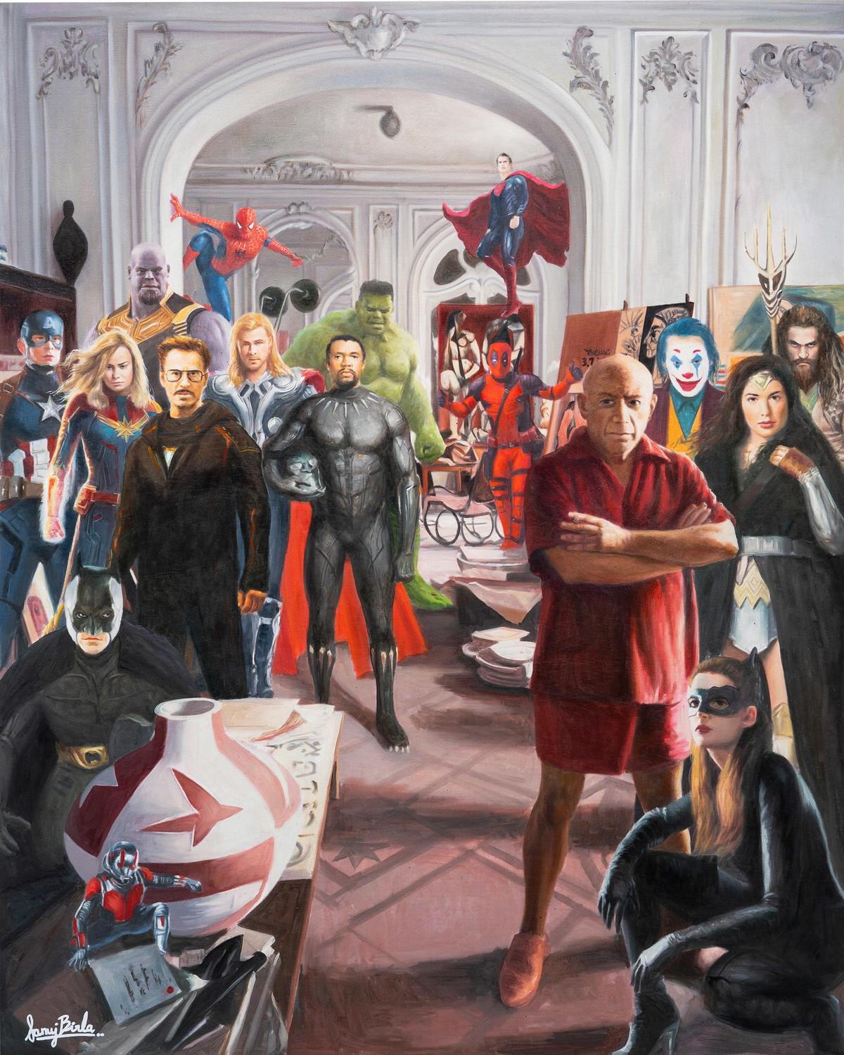 Superheros visit picasso by Sanuj Birla, Pop Art Painting, Oil on Canvas, Brown color